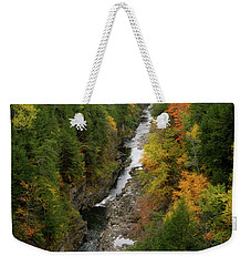 Quechee Gorge Fall Vt Weekender Tote Bag by Michael Hubley