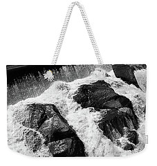 Weekender Tote Bag featuring the photograph Quechee, Vermont - Falls 2 Bw by Frank Romeo