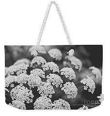 Weekender Tote Bag featuring the photograph Queen Anne's Lace Floral Monochrome by Ella Kaye Dickey