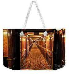 Weekender Tote Bag featuring the photograph Queen Mary Hallway by Mariola Bitner