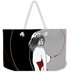Weekender Tote Bag featuring the digital art Queen Of Hearts by Maria Lankina