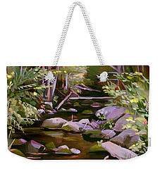 Weekender Tote Bag featuring the painting Quiet Brook by Nancy Griswold