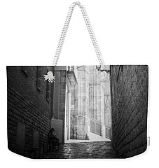 Quiet Moment Near Barcelona Cathedral, B/w Weekender Tote Bag by Valerie Reeves