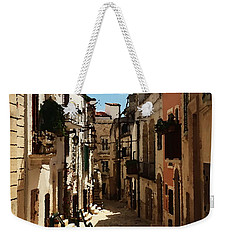 Weekender Tote Bag featuring the photograph Quiet Place In Puglia - Abstract by Jacqueline M Lewis