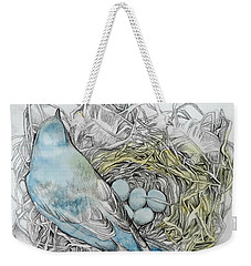 Weekender Tote Bag featuring the drawing Quiet Time by Rose Legge