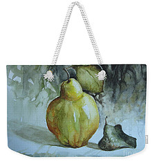 Weekender Tote Bag featuring the painting Quince... by Elena Oleniuc