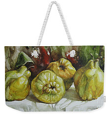 Weekender Tote Bag featuring the painting Quinces by Elena Oleniuc