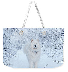 Quinn The Mighty Samoyed Weekender Tote Bag