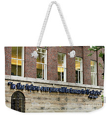 Weekender Tote Bag featuring the photograph Quote Of Warhol 15 Minutes Of Fame by RicardMN Photography