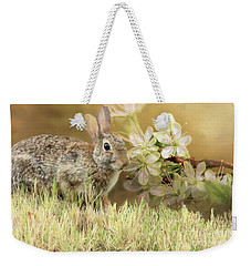 Eastern Cottontail Rabbit In Grass Weekender Tote Bag by Janette Boyd