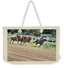 Race Horses In Motion Weekender Tote Bag by Lise Winne