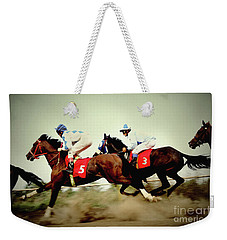 Racing Horses Neck To Neck In Competition Weekender Tote Bag