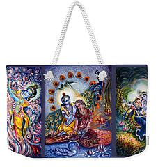 Radha Krishna Cosmic Leela Weekender Tote Bag by Harsh Malik