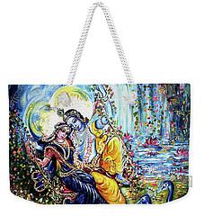 Radha Krishna Jhoola Leela Weekender Tote Bag by Harsh Malik