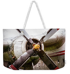 Weekender Tote Bag featuring the photograph Radial Engine And Prop - Fairchild C-119 Flying Boxcar by Gary Heller