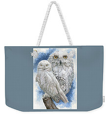 Weekender Tote Bag featuring the mixed media Radiant by Barbara Keith