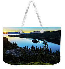Weekender Tote Bag featuring the photograph Radiant Sunrise On Emerald Bay by John Hight