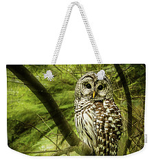 Radiating Barred Owl Weekender Tote Bag