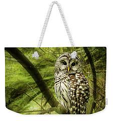 Radiating Barred Owl Weekender Tote Bag