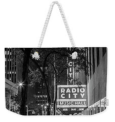 Radio City Music Hall Black And White With Trees Weekender Tote Bag