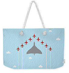 Raf Red Arrows In Formation With Vulcan Bomber Weekender Tote Bag