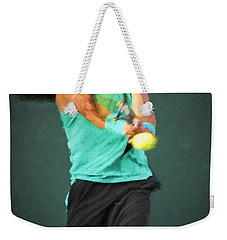 Weekender Tote Bag featuring the painting Rafael Nadal by Lou Novick