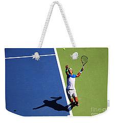 Rafeal Nadal Tennis Serve Weekender Tote Bag by Nishanth Gopinathan