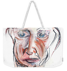 Weekender Tote Bag featuring the drawing Raggedy Selfie by Carolyn Weltman