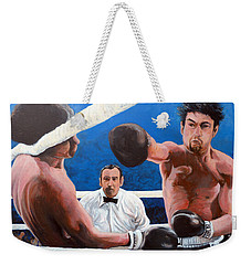 Weekender Tote Bag featuring the painting Raging Bull by Tom Roderick