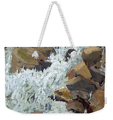 Weekender Tote Bag featuring the painting Raging Water by David King