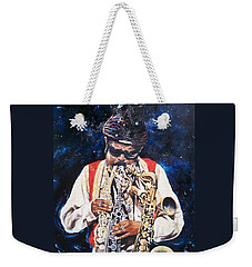 Weekender Tote Bag featuring the painting Rahsaan Roland Kirk- Jazz by Sigrid Tune