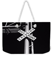 Rail Sign Black And White Weekender Tote Bag