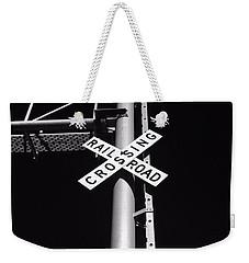 Rail Sign Black And White Weekender Tote Bag