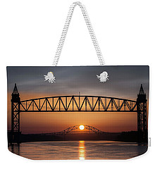 Railroad Bridge Framing The Bourne Bridge During A Sunrise Weekender Tote Bag
