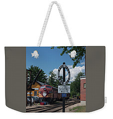 Weekender Tote Bag featuring the photograph Railroad Crossing by Suzanne Gaff