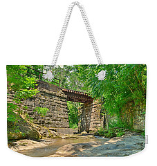 Weekender Tote Bag featuring the photograph Railroad Tracks At Buttermilk/homewood Falls by Lisa Wooten