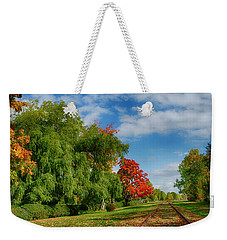 Railroad Tracks At Grand-pre National Historic Site Weekender Tote Bag