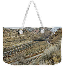 Weekender Tote Bag featuring the photograph Railroad Tracks Lead To Power Plant by Sue Smith