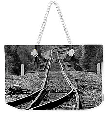 Weekender Tote Bag featuring the photograph Rails by Douglas Stucky