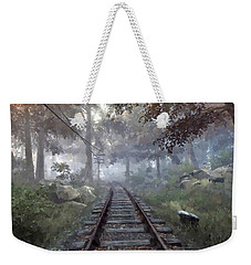 Weekender Tote Bag featuring the digital art Rails To A Forgotten Place by Kai Saarto