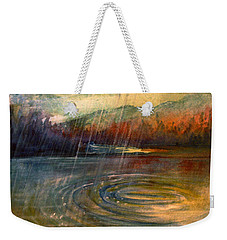 Weekender Tote Bag featuring the painting Rain by Allison Ashton