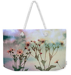 Weekender Tote Bag featuring the photograph Rain Dance Among The Flowers by Elaine Manley