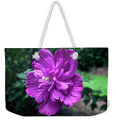 Weekender Tote Bag featuring the photograph Rain Drop Covered Blossom by Jeff Severson