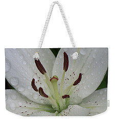 Rain Drops On Lily Weekender Tote Bag