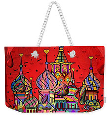 Weekender Tote Bag featuring the digital art Rain In Moskau Popart By Nico Bielow by Nico Bielow