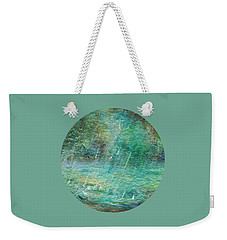 Weekender Tote Bag featuring the painting Rain On The Pond by Mary Wolf