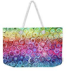Rainbow Abstract Swirls Weekender Tote Bag