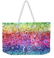 Rainbow Abstract Swirls Weekender Tote Bag