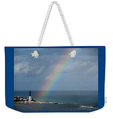 Rainbow At Lighthouse Weekender Tote Bag