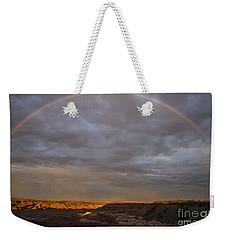 Weekender Tote Bag featuring the photograph Rainbow At Sunset by Melany Sarafis